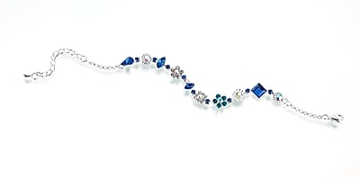 Lillian Rose™ Wedding Shower Anklet, Silvers/Aqua