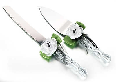 Lillian Rose™ Knife and Server Set, Green/Black