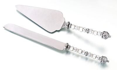Lillian Rose™ Beaded Knife and Server Set, Silver