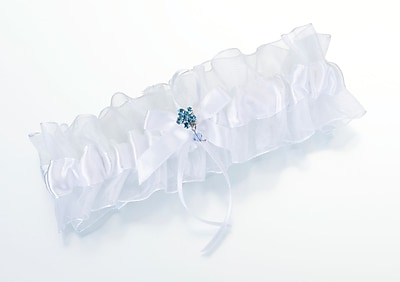 Lillian Rose™ Something Blue Garter With Flower, White