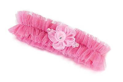 Lillian Rose™ Tulle Flower Garter, Pink