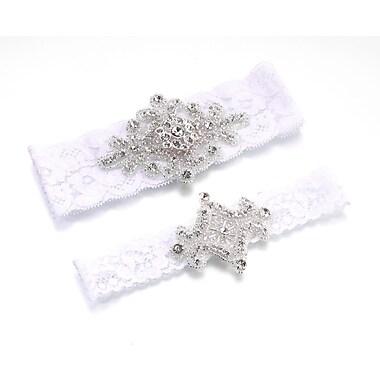 Lillian Rose™ Set Of 2 Jeweled Garter, White