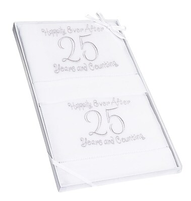 "Lillian Rose™ 14 1/4"" Pair of 25th Anniversary Linen Towel"