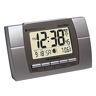 Datexx DRC-604 Digital Radio Control Travel/Table Clock, Silver/Black
