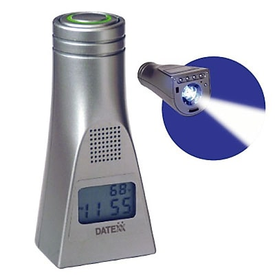 Datexx LED-45 Digital Talking Alarm Travel/Table Clock with LED Light, Silver