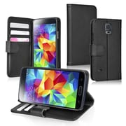 Insten® Stand Folio Case With Card Slot For Samsung Galaxy S5; Black