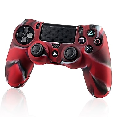 Insten Protective Skin Case For Sony PlayStation 4 Controller, Camouflage Navy Red (1681168)