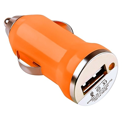 Insten® USB Mini Car Charger Adapter, Orange