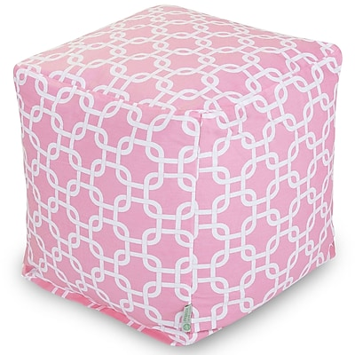 Majestic Home Goods Indoor Poly/Cotton Twill Links Small Cube, Soft Pink/White