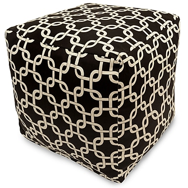 Majestic Home Goods Indoor Poly/Cotton Twill Links Small Cube, Black/White