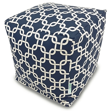 Majestic Home Goods Indoor Poly/Cotton Twill Links Small Cube, Navy Blue/White