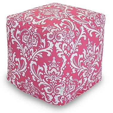 Majestic Home Goods Indoor Poly/Cotton Twill French Quarter Small Cube, Hot Pink/White
