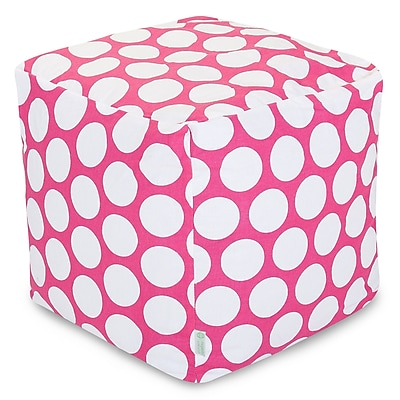 Majestic Home Goods Indoor Poly/Cotton Twill Polka Dot Small Cube, Hot Pink/White