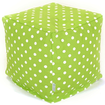 Majestic Home Goods Indoor Poly/Cotton Twill Polka Dot Small Cube, Lime/White