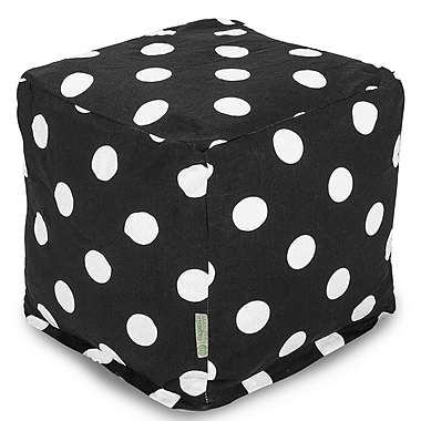 Majestic Home Goods Indoor Poly/Cotton Twill Polka Dot Small Cube, Black/White