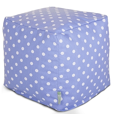 Majestic Home Goods Indoor Poly/Cotton Twill Polka Dot Small Cube, Lavender/White