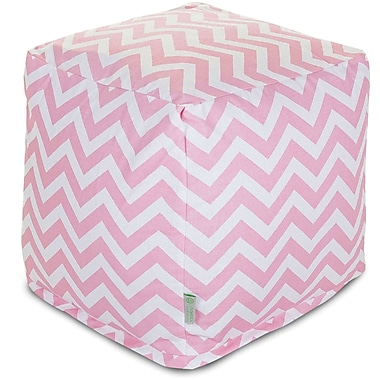 Majestic Home Goods Indoor Poly/Cotton Twill Chevron Small Cube, Baby Pink/White