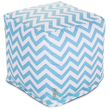 Majestic Home Goods Indoor Poly/Cotton Twill Chevron Small Cube, Tiffany Blue/White