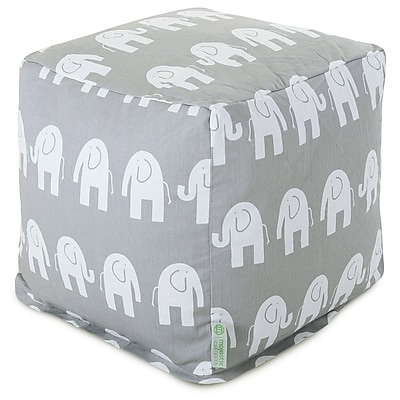 Majestic Home Goods Indoor Poly/Cotton Twill Ellie Small Cube, Gray/White