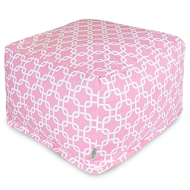 Majestic Home Goods Indoor Poly/Cotton Twill Links Large Ottoman, Soft Pink/White