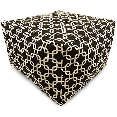 Majestic Home Goods Indoor Poly/Cotton Twill Links Large Ottoman, Black/White