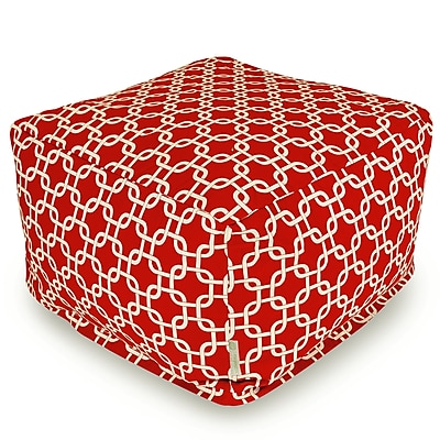 Majestic Home Goods Outdoor Polyester Links Large Ottoman, Red