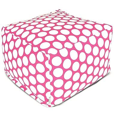 Majestic Home Goods Indoor Poly/Cotton Twill Polka Dot Large Ottoman, Hot Pink/White