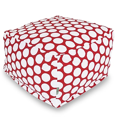 Majestic Home Goods Indoor Poly/Cotton Twill Polka Dot Large Ottoman, Red Hot/White