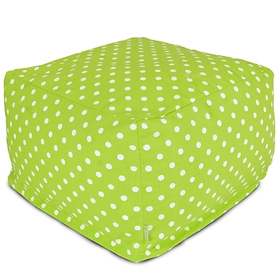 Majestic Home Goods Indoor Poly/Cotton Twill Polka Dot Large Ottoman, Lime/White