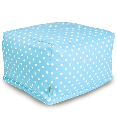 Majestic Home Goods Indoor Poly/Cotton Twill Polka Dot Large Ottoman, Aquamarine/White