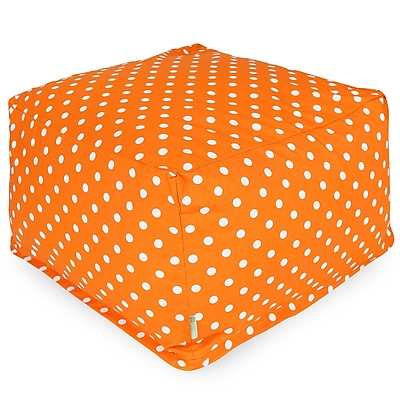 Majestic Home Goods Indoor Poly/Cotton Twill Polka Dot Large Ottoman, Tangerine/White