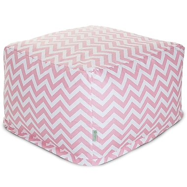 Majestic Home Goods Indoor Poly/Cotton Twill Chevron Large Ottoman, Baby Pink/White