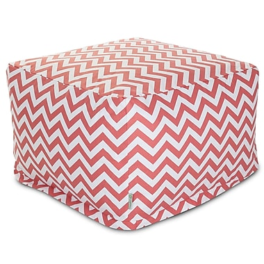 Majestic Home Goods Indoor Poly/Cotton Twill Chevron Large Ottoman, Coral/White