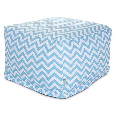 Majestic Home Goods Indoor Poly/Cotton Twill Chevron Large Ottoman, Tiffany Blue/White