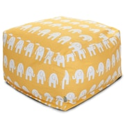 Majestic Home Goods Indoor Poly/Cotton Twill Ellie Large Ottoman, Yellow/White