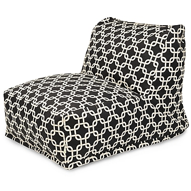 Majestic Home Goods Outdoor Polyester Links Bean Bag Chair Lounger, Black