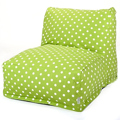 Majestic Home Goods Indoor Small Polka Dot Cotton Duck/Twill Bean Bag Chair Lounger, Lime