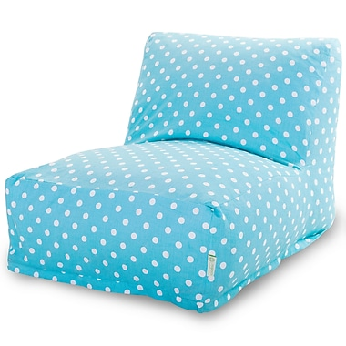 Majestic Home Goods Indoor Small Polka Dot Cotton Duck/Twill Bean Bag Chair Lounger, Aquamarine