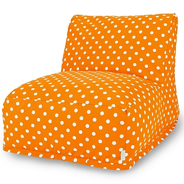 Majestic Home Goods Indoor Small Polka Dot Cotton Duck/Twill Bean Bag Chair Lounger, Tangerine