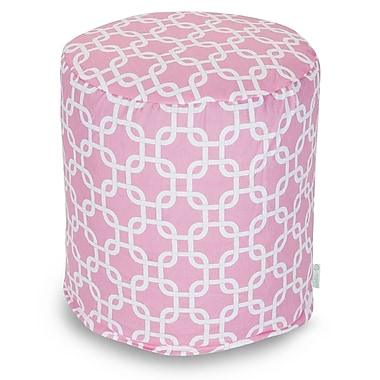 Majestic Home Goods Indoor Poly/Cotton Twill Links Small Pouf, Soft Pink/White
