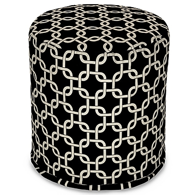 Majestic Home Goods Indoor Poly/Cotton Twill Links Small Pouf, Black/White