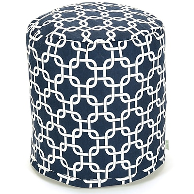 Majestic Home Goods Indoor Poly/Cotton Twill Links Small Pouf, Navy Blue/White
