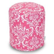 Majestic Home Goods Indoor Poly/Cotton Twill French Quarter Small Pouf, Hot Pink/White