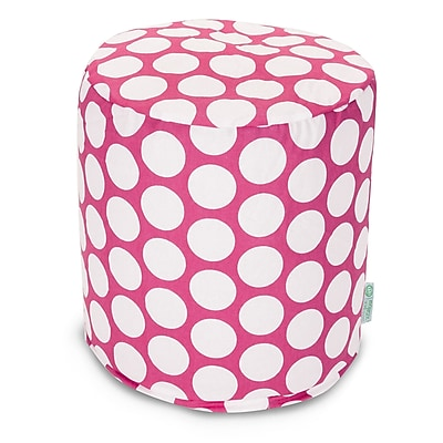 Majestic Home Goods Indoor Poly/Cotton Twill Polka Dot Small Pouf, Hot Pink/White