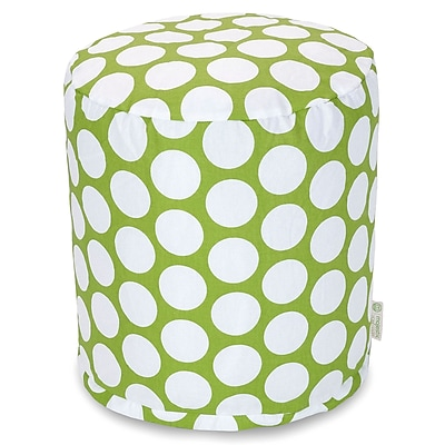 Majestic Home Goods Indoor Poly/Cotton Twill Polka Dot Small Pouf, Hot Green/White