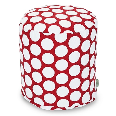 Majestic Home Goods Indoor Poly/Cotton Twill Polka Dot Small Pouf, Red Hot/White