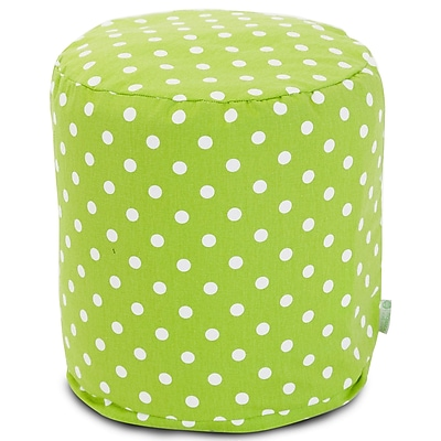 Majestic Home Goods Indoor Poly/Cotton Twill Polka Dot Small Pouf, Lime/White
