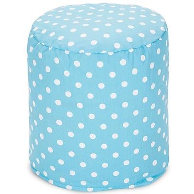 Majestic Home Goods Indoor Poly/Cotton Twill Polka Dot Small Pouf, Aquamarine/White