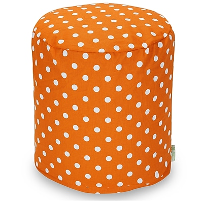 Majestic Home Goods Indoor Poly/Cotton Twill Polka Dot Small Pouf, Tangerine/White