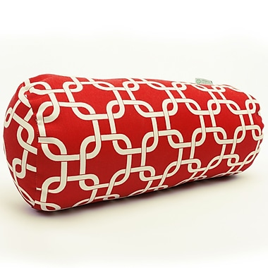 Majestic Home Goods Indoor/Outdoor Links Round Bolster Indoor/Outdoor Pillow, Red